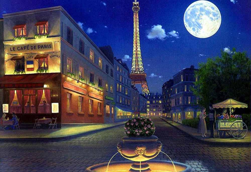 Вечерний париж алмазная вышивка