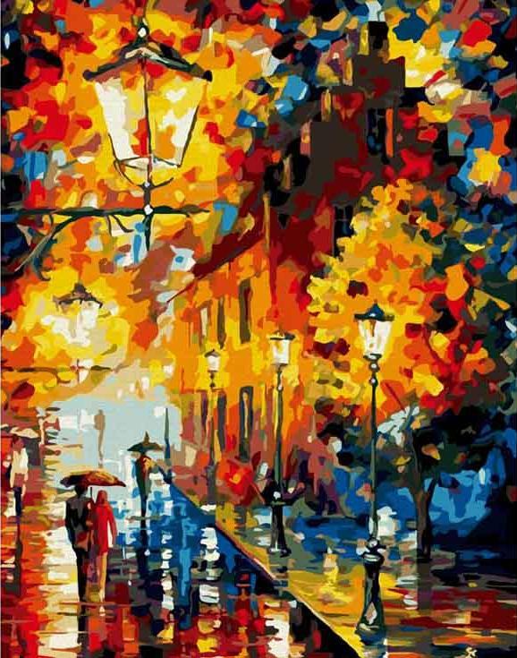 Купить Картина по номерам «Осенние фонари» Леонида Афремова, Molly