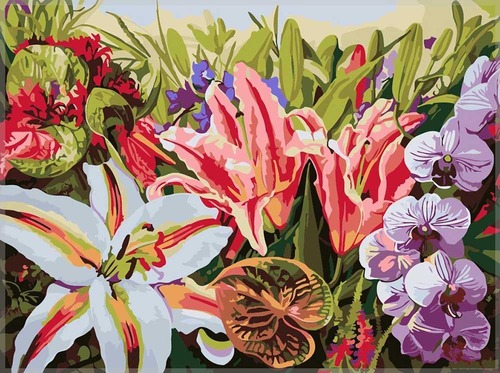 Картина по номерам «Орхидеи в цветах» Ирины КарпикиотиРаскраски по номерам Paintboy (Original)<br><br><br>Артикул: GX7283_R<br>Основа: Холст<br>Сложность: сложные<br>Размер: 40x50 см<br>Количество цветов: 25<br>Техника рисования: Без смешивания красок