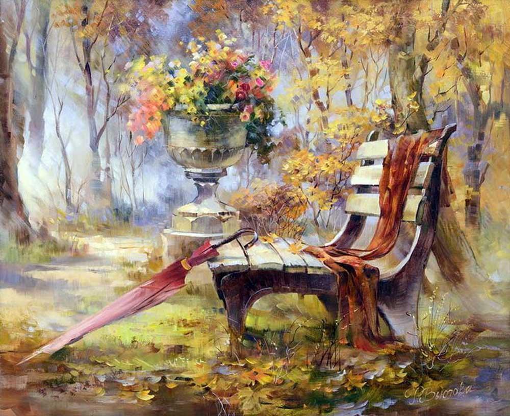 «Время листопада» Риммы ВьюговойРаскраски по номерам Paintboy (Original)<br><br><br>Артикул: gx7816_R<br>Основа: Холст<br>Сложность: средние<br>Размер: 40x50 см<br>Количество цветов: 27<br>Техника рисования: Без смешивания красок