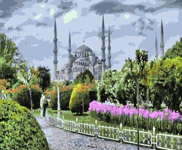 «Голубая мечеть»Раскраски по номерам Paintboy (Original)<br><br><br>Артикул: GX7826_R<br>Основа: Холст<br>Сложность: средние<br>Размер: 40x50 см<br>Количество цветов: 24<br>Техника рисования: Без смешивания красок
