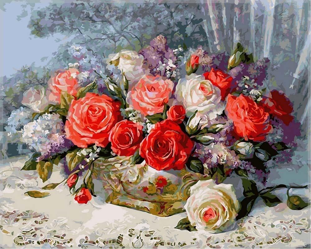 Картина по номерам «Розы на веранде»Цветной (Standart)<br><br><br>Артикул: GX7829_Z<br>Основа: Холст<br>Сложность: средние<br>Размер: 40x50 см<br>Количество цветов: 25<br>Техника рисования: Без смешивания красок