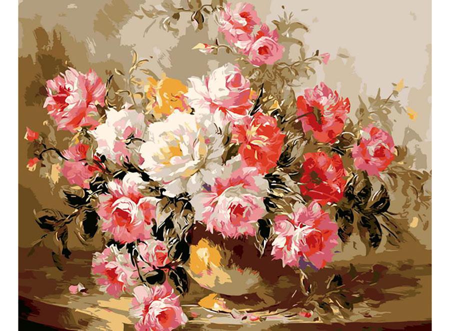«Букет роз» Антонио ДжанильяттиЦветной (Standart)<br><br><br>Артикул: GX7833_Z<br>Основа: Холст<br>Сложность: сложные<br>Размер: 40x50 см<br>Количество цветов: 25<br>Техника рисования: Без смешивания красок