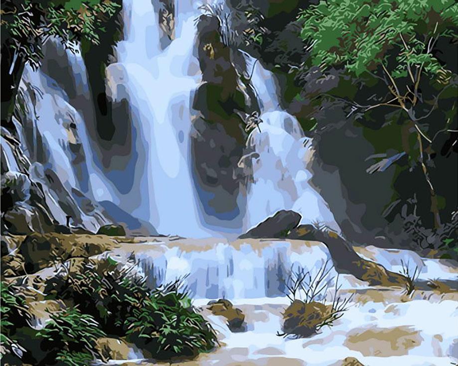 Картина по номерам «Каскад водопадов»Paintboy (Premium)<br><br><br>Артикул: GX7869<br>Основа: Холст<br>Сложность: сложные<br>Размер: 40x50 см<br>Количество цветов: 25<br>Техника рисования: Без смешивания красок