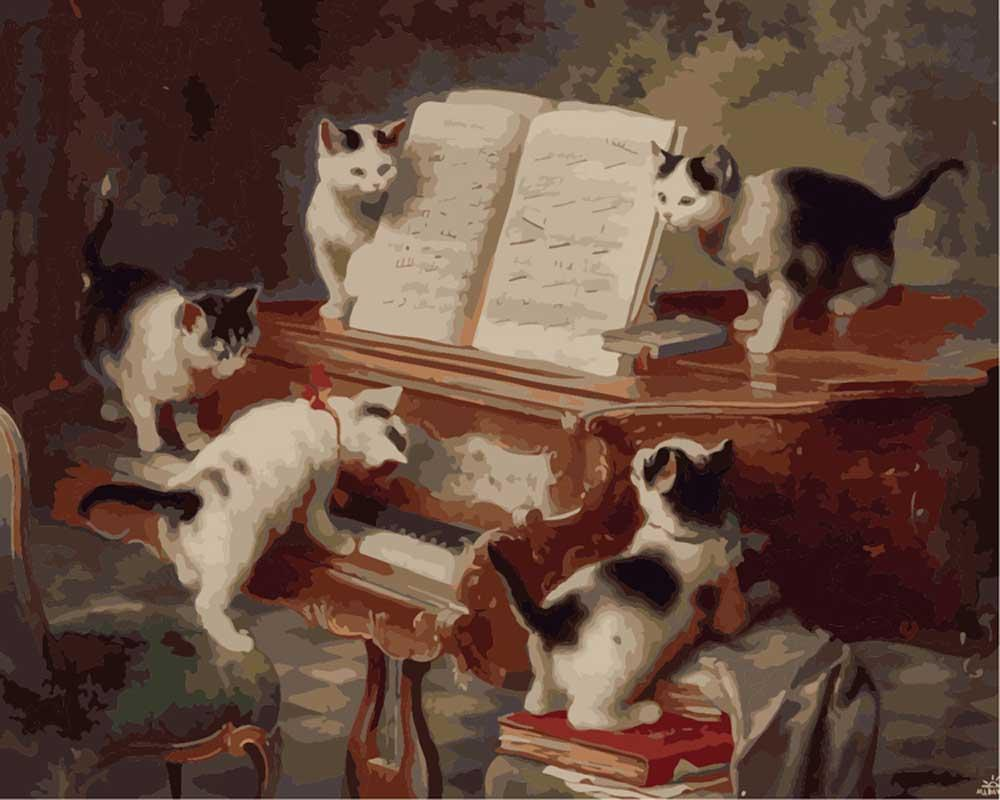 Картина по номерам «Концерт котят» Карла РайхертаMenglei (Premium)<br><br><br>Артикул: mg3003<br>Основа: Холст<br>Сложность: сложные<br>Размер: 40x50 см<br>Количество цветов: 27<br>Техника рисования: Без смешивания красок