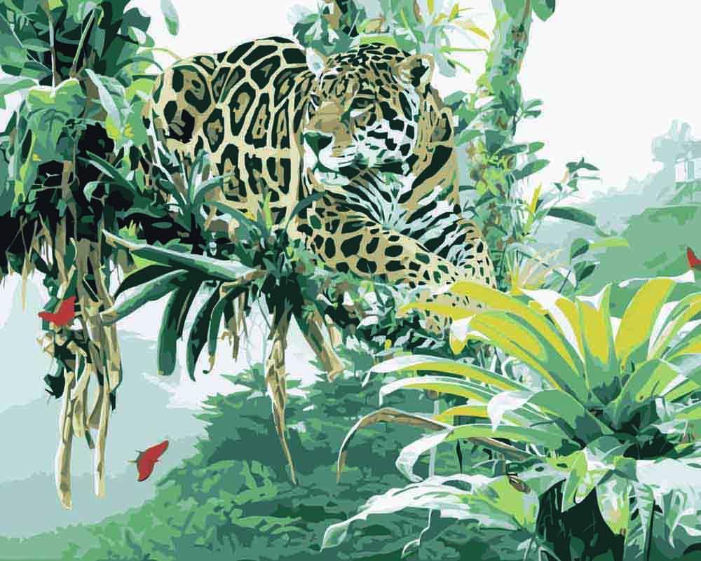 Картина по номерам «Леопард в зелени» Рода ФредерикаРаскраски по номерам Menglei (Standart)<br><br><br>Артикул: MG3015_S<br>Основа: Холст<br>Сложность: сложные<br>Размер: 40x50 см<br>Количество цветов: 25<br>Техника рисования: Без смешивания красок