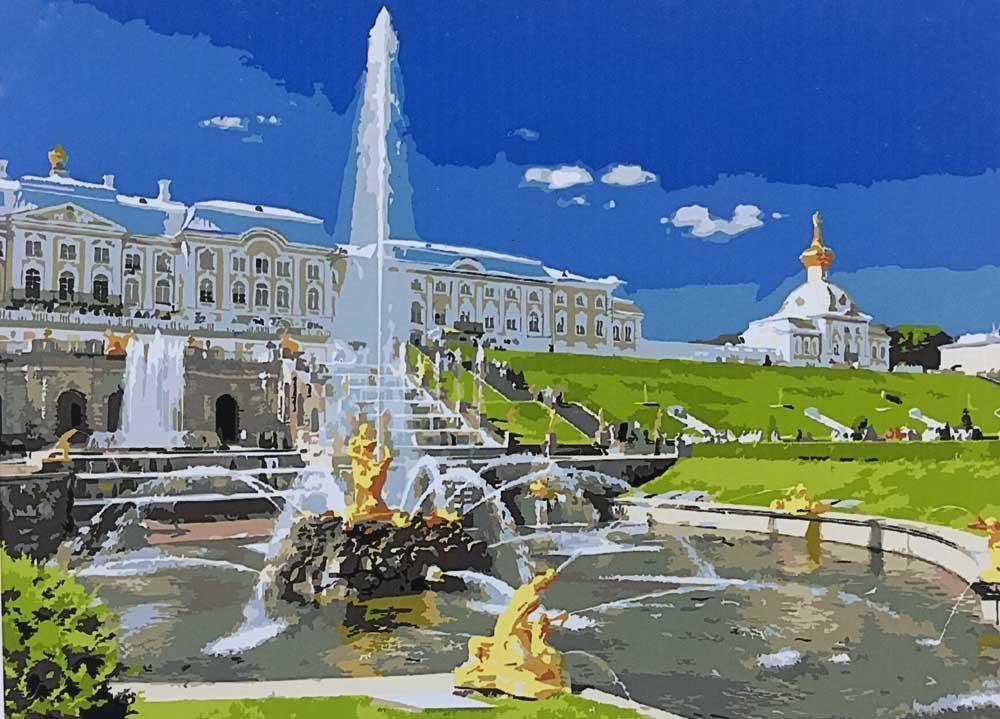 Картина по номерам «Фонтан Самсон в Петергофе»Раскраски по номерам<br><br>