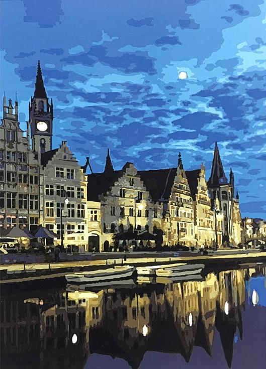 Картина по номерам «Гент, Бельгия»Paintboy (Premium)<br><br><br>Артикул: GX8015<br>Основа: Холст<br>Сложность: сложные<br>Размер: 40x50 см<br>Количество цветов: 25<br>Техника рисования: Без смешивания красок