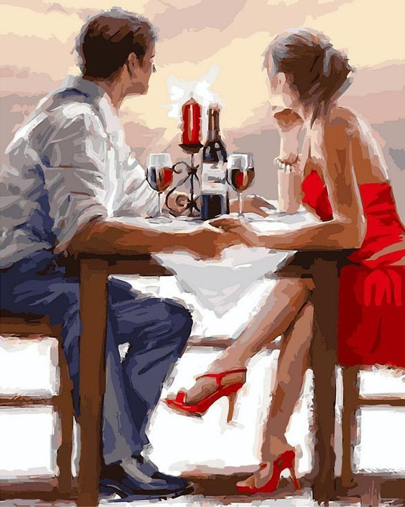 «Романтический ужин» Ричарда МакнейлаРаскраски по номерам Color Kit<br><br><br>Артикул: CG734<br>Основа: Холст<br>Сложность: средние<br>Размер: 40x50 см<br>Количество цветов: 25<br>Техника рисования: Без смешивания красок