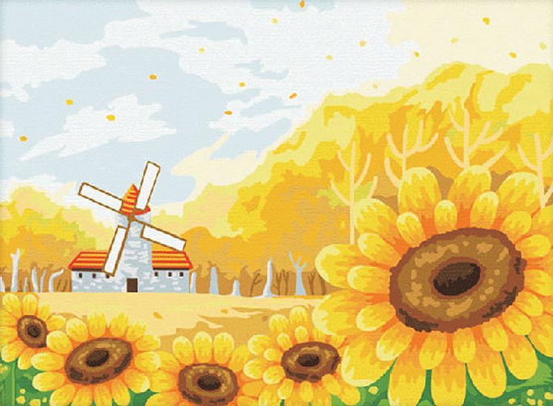 Картина по номерам «Подсолнуховое поле»Menglei (Premium)<br><br><br>Артикул: ME013<br>Основа: Холст<br>Сложность: средние<br>Размер: 30x40 см<br>Количество цветов: 22<br>Техника рисования: Без смешивания красок