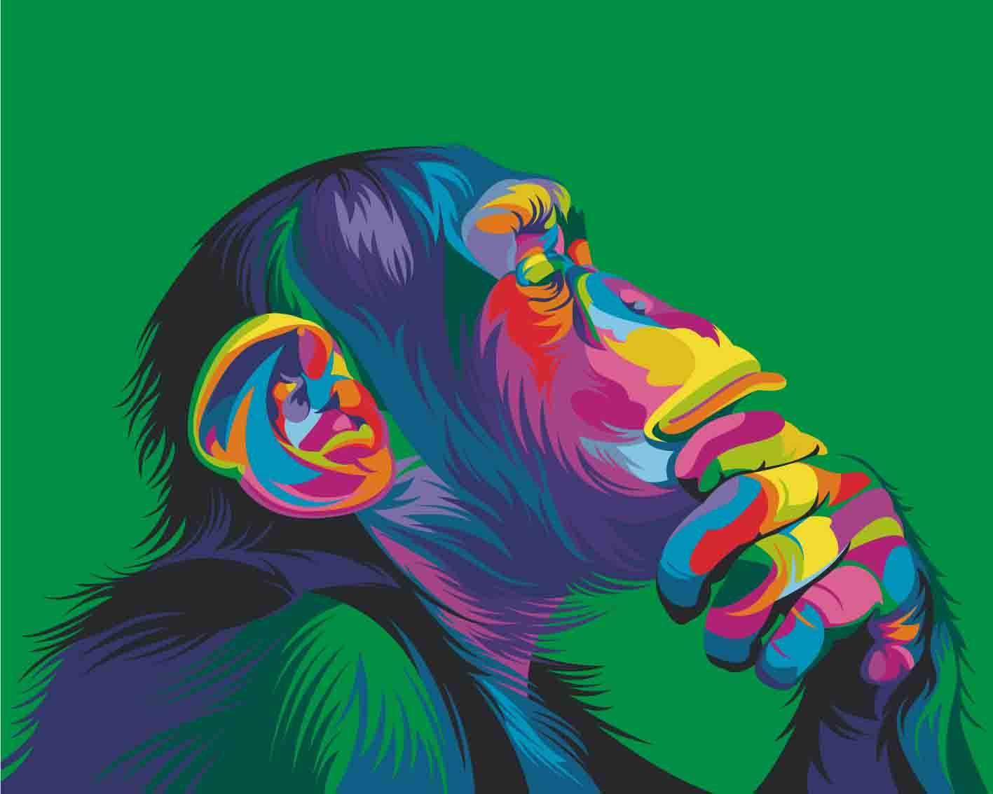 Картина по номерам Артвентура «Радужная обезьяна» Ваю Ромдони 02ART40500018