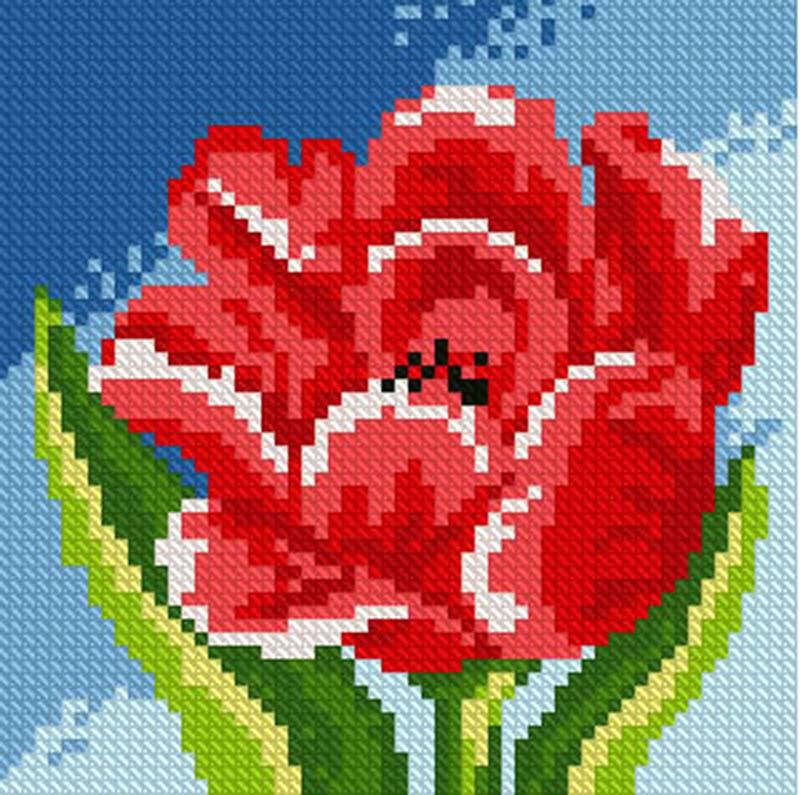 Алмазная вышивка Алмазная живопись Стразы «Красный тюльпан» SP-1074