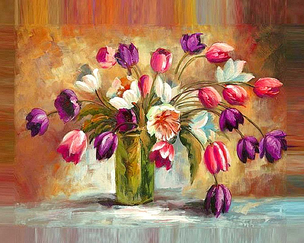 Алмазная вышивка Алмазная живопись Стразы «Цветы тюльпанов» SP-1131