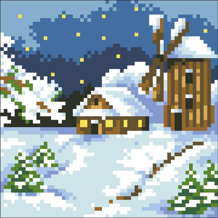 Стразы «Домик в снегу»Алмазная Живопись<br>Картины стразами бренда «Алмазная Живопись» это:<br><br>четко пропечатанная символьная схема;<br>качественный клеевой слой по всей поверхности холста;<br>большая палитра акриловых страз с 9 гранями, которые, отражая свет, создают эффект объемного изображения.<br>...<br><br>Артикул: SP-408<br>Основа: Холст без подрамника<br>Сложность: средние<br>Размер: 15x15 см<br>Выкладка: Полная<br>Количество цветов: 14<br>Тип страз: Квадратные