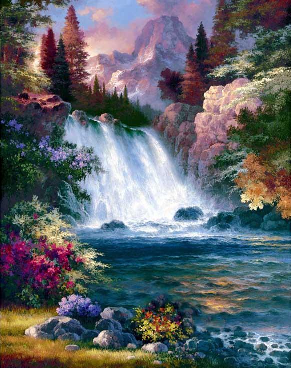 Алмазная вышивка «Водопад» Джеймса ЛиАлмазная вышивка Гранни<br><br>
