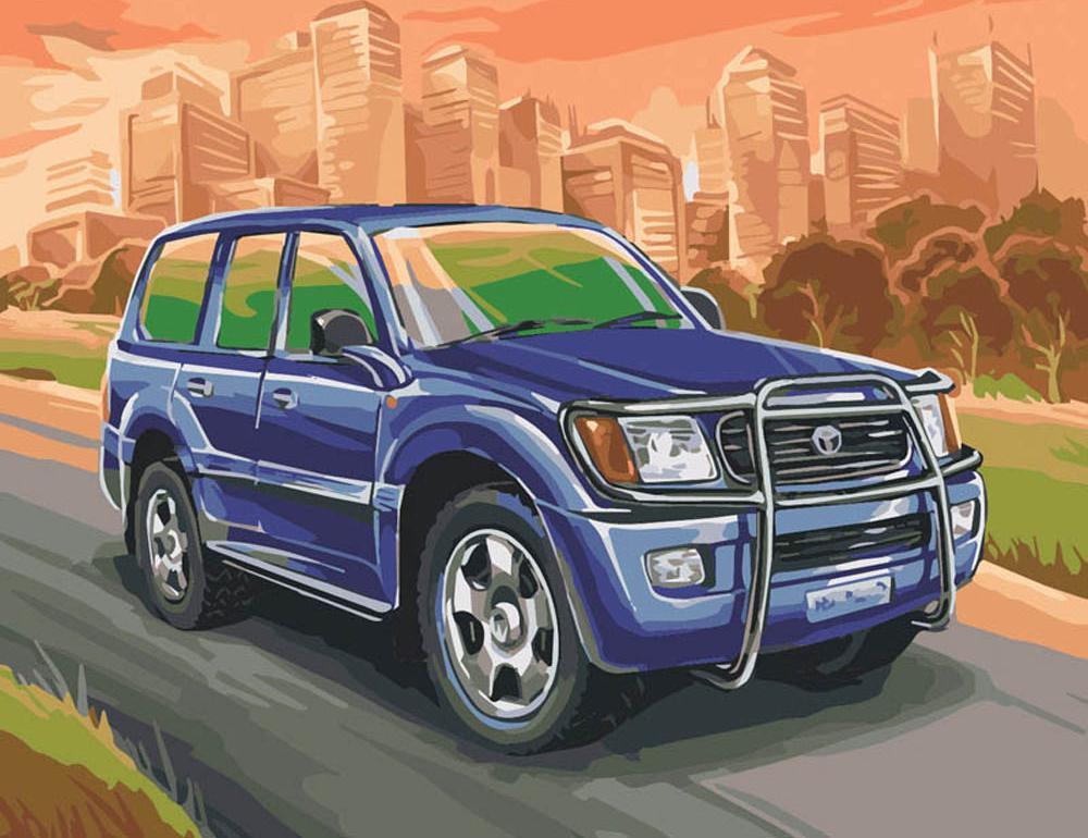 """«Toyota Land Cruiser»Картины по номерам Белоснежка<br>Наборы от производителя """"Белоснежка"""" имеют особенности, не позволяющие ошибиться в раскрашивании:<br> <br>  холст качественно размечен на сектора;<br>  чтобы легче было сориентироваться в том, какую краску нужно нанести на определенный участок, каждый сектор имее...<br><br>Артикул: 856-AB-C<br>Основа: Цветной холст<br>Сложность: средние<br>Размер: 40x50 см<br>Количество цветов: 30<br>Техника рисования: Без смешивания красок"""