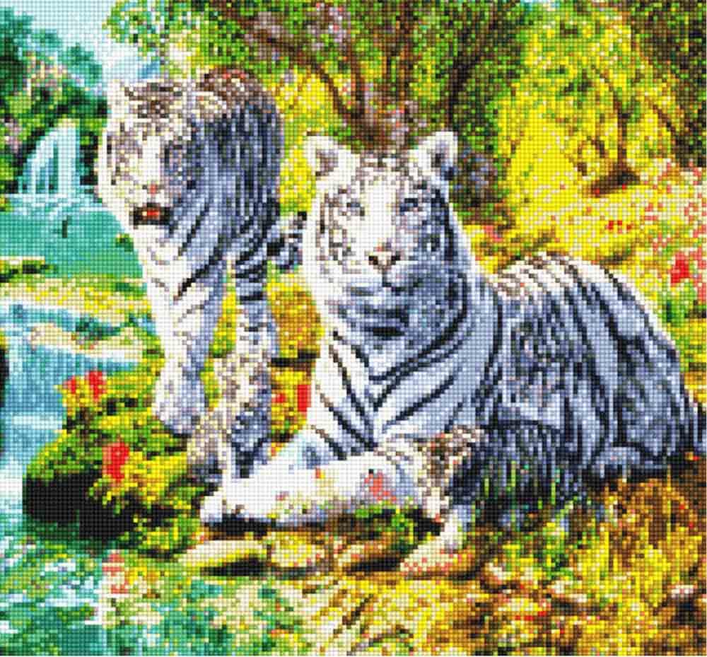 Стразы «Белые тигры»Anya<br><br><br>Артикул: 900501<br>Основа: Холст без подрамника<br>Сложность: средние<br>Размер: 37x40 см<br>Выкладка: Полная<br>Тип страз: Квадратные