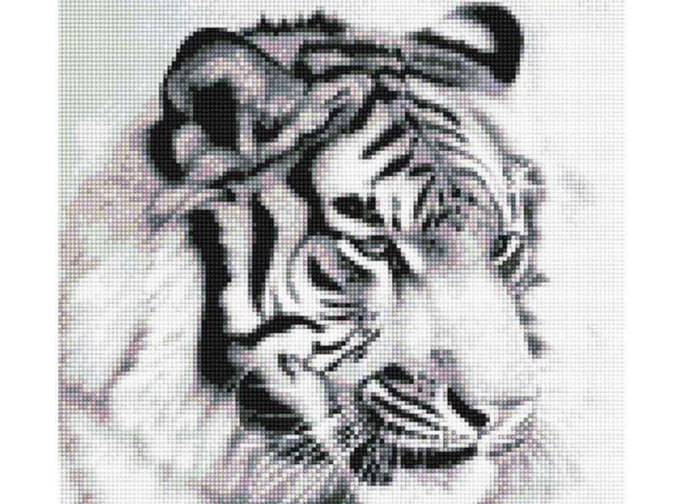 Стразы «Белый тигр»Anya<br><br><br>Артикул: 901001<br>Основа: Холст без подрамника<br>Сложность: средние<br>Размер: 33,5x30 см<br>Выкладка: Полна<br>Тип страз: Квадратные