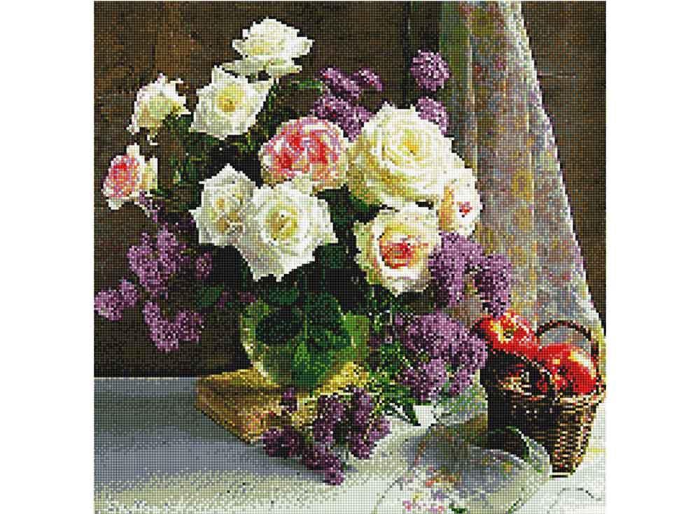 Стразы «Букет белых роз»Anya<br><br><br>Артикул: 904401<br>Основа: Холст без подрамника<br>Сложность: средние<br>Размер: 50x50<br>Выкладка: Полная<br>Тип страз: Квадратные