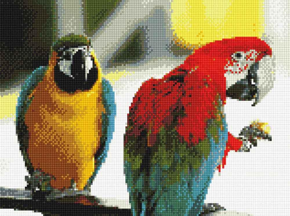 Стразы «Парочка попугаев»Anya<br><br><br>Артикул: 913011<br>Основа: Холст без подрамника<br>Сложность: средние<br>Размер: 30x40<br>Выкладка: Полная<br>Тип страз: Квадратные