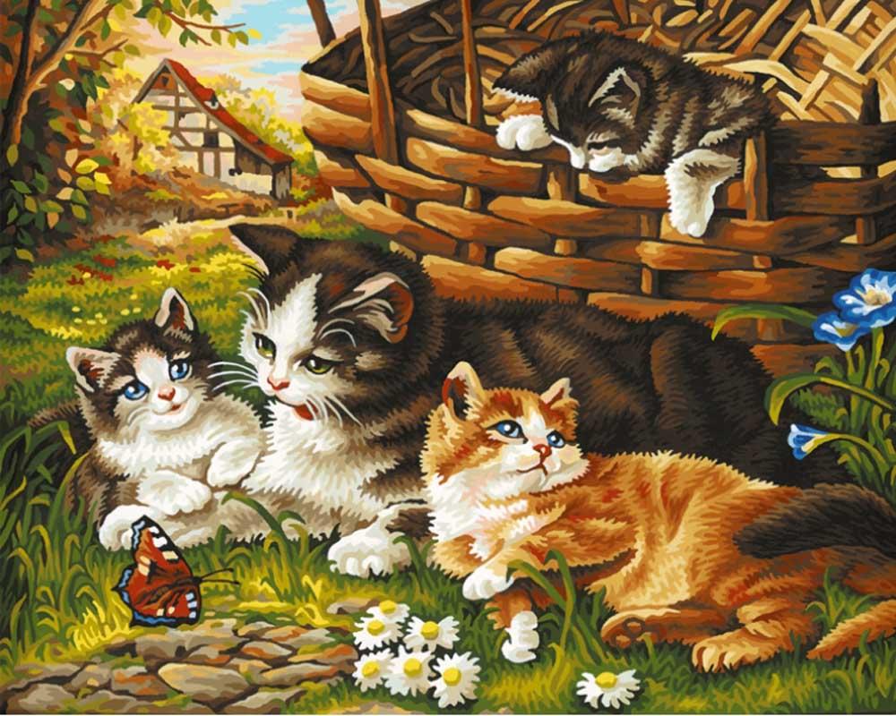 """Картина по номерам «Кошка с котятами»Schipper (Шиппер)<br>Производитель наборов картин по номерам """"Schipper"""" - это исключительное качество всех составляющих. Особенностью этого бренда является то, что основа картины - высококачественный картон, покрытие которого имитирует натуральный холст. Краски """"Schipper"""" обл...<br><br>Артикул: 9130361<br>Основа: Картон<br>Сложность: сложные<br>Размер: 40x50 см<br>Количество цветов: 28<br>Техника рисования: Без смешивания красок"""