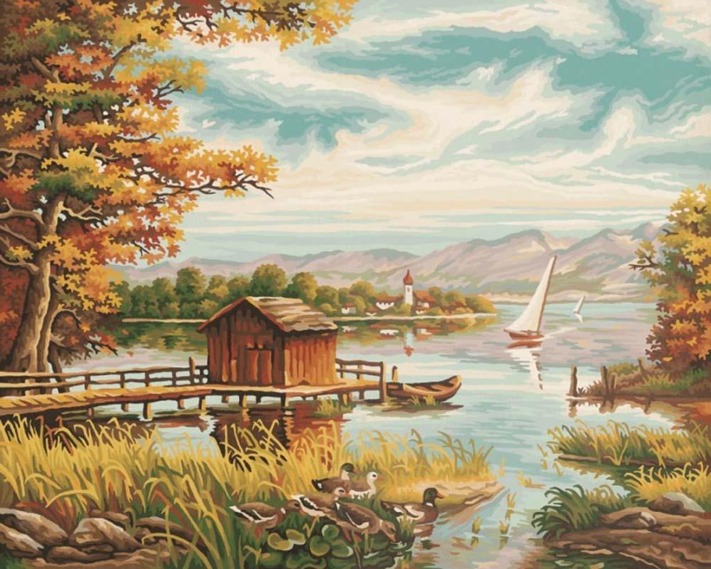 """Картина по номерам «У озера»Schipper (Шиппер)<br>Производитель наборов картин по номерам """"Schipper"""" - это исключительное качество всех составляющих. Особенностью этого бренда является то, что основа картины - высококачественный картон, покрытие которого имитирует натуральный холст. Краски """"Schipper"""" обл...<br><br>Артикул: 9130377<br>Основа: Картон<br>Сложность: сложные<br>Размер: 40x50 см<br>Количество цветов: 30<br>Техника рисования: Без смешивания красок"""