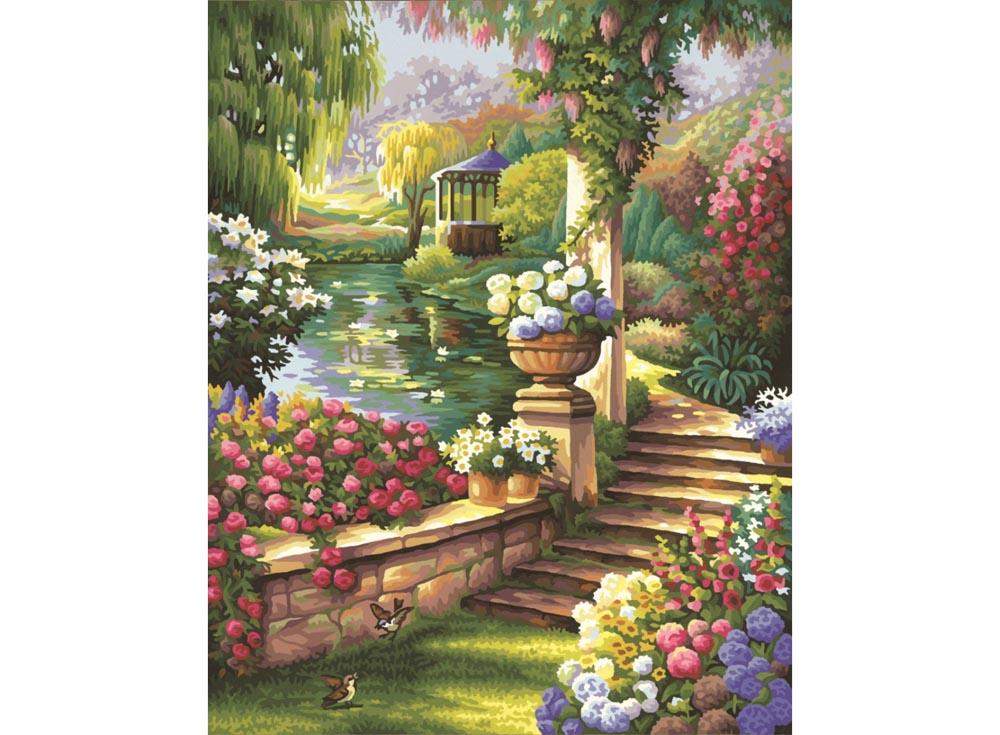 """Картина по номерам «Садовый рай»Schipper (Шиппер)<br>Производитель наборов картин по номерам """"Schipper"""" - это исключительное качество всех составляющих. Особенностью этого бренда является то, что основа картины - высококачественный картон, покрытие которого имитирует натуральный холст. Краски """"Schipper"""" обл...<br><br>Артикул: 9130379<br>Основа: Картон<br>Сложность: сложные<br>Размер: 40x50 см<br>Количество цветов: 36<br>Техника рисования: Без смешивания красок"""