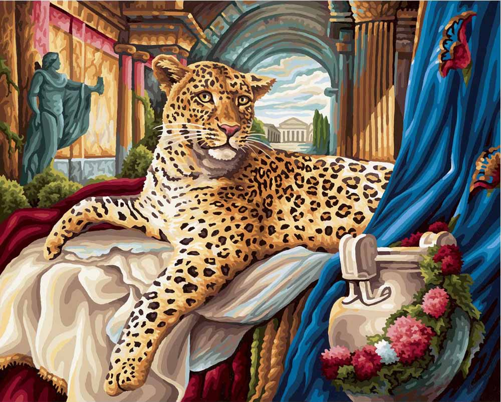 """«Леопард»Schipper (Шиппер)<br>Производитель наборов картин по номерам """"Schipper"""" - это исключительное качество всех составляющих. Особенностью этого бренда является то, что основа картины - высококачественный картон, покрытие которого имитирует натуральный холст. Краски """"Schipper"""" обл...<br><br>Артикул: 9130384<br>Основа: Картон<br>Сложность: сложные<br>Размер: 40x50 см<br>Количество цветов: 36<br>Техника рисования: Без смешивания красок"""