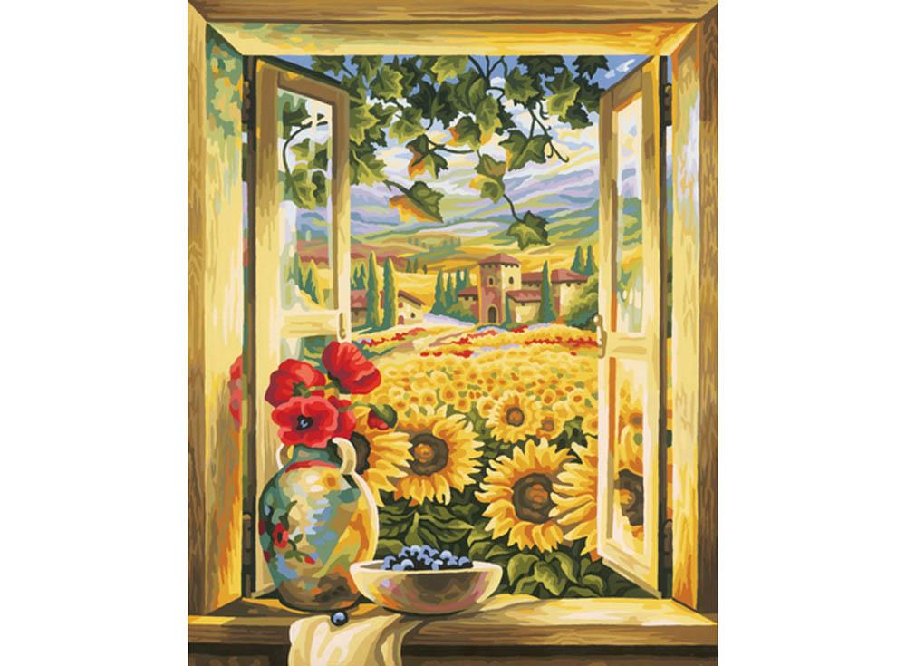 """Картина по номерам «Вид из окна»Schipper (Шиппер)<br>Производитель наборов картин по номерам """"Schipper"""" - это исключительное качество всех составляющих. Особенностью этого бренда является то, что основа картины - высококачественный картон, покрытие которого имитирует натуральный холст. Краски """"Schipper"""" обл...<br><br>Артикул: 9130405<br>Основа: Картон<br>Сложность: сложные<br>Размер: 40x50 см<br>Количество цветов: 36<br>Техника рисования: Без смешивания красок"""