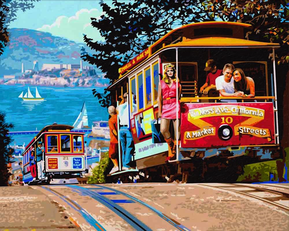 """Картина по номерам «Трамвай из Сан-Франциско»Schipper (Шиппер)<br>Производитель наборов картин по номерам """"Schipper"""" - это исключительное качество всех составляющих. Особенностью этого бренда является то, что основа картины - высококачественный картон, покрытие которого имитирует натуральный холст. Краски """"Schipper"""" обл...<br><br>Артикул: 9130645<br>Основа: Картон<br>Сложность: сложные<br>Размер: 40x50 см<br>Количество цветов: 34<br>Техника рисования: Без смешивания красок"""