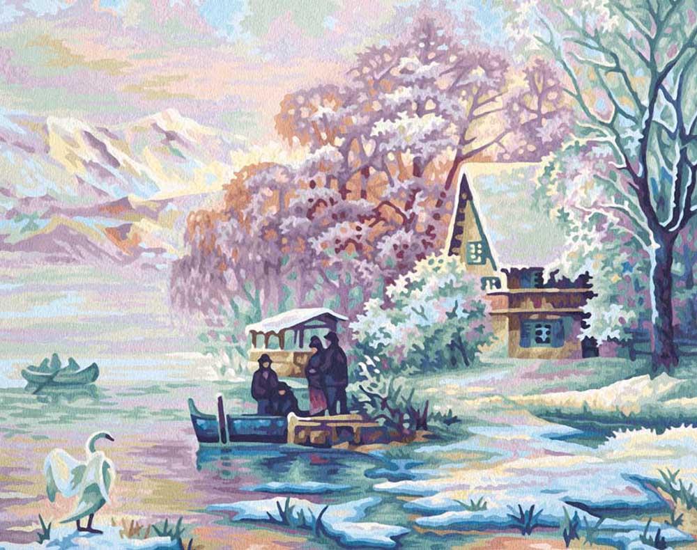 """«Зима на озере»Schipper (Шиппер)<br>Производитель наборов картин по номерам """"Schipper"""" - это исключительное качество всех составляющих. Особенностью этого бренда является то, что основа картины - высококачественный картон, покрытие которого имитирует натуральный холст. Краски """"Schipper"""" обл...<br><br>Артикул: 9130700<br>Основа: Картон<br>Сложность: сложные<br>Размер: 40x50 см<br>Количество цветов: 25<br>Техника рисования: Без смешивания красок"""