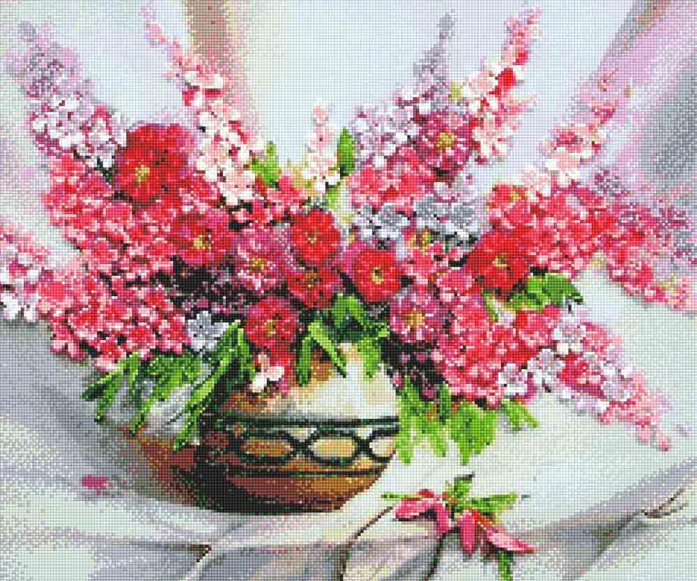 Алмазная вышивка «Розовый букет»Anya<br><br><br>Артикул: 914003<br>Основа: Холст без подрамника<br>Сложность: средние<br>Размер: 50x60 см<br>Выкладка: Полная<br>Тип страз: Квадратные