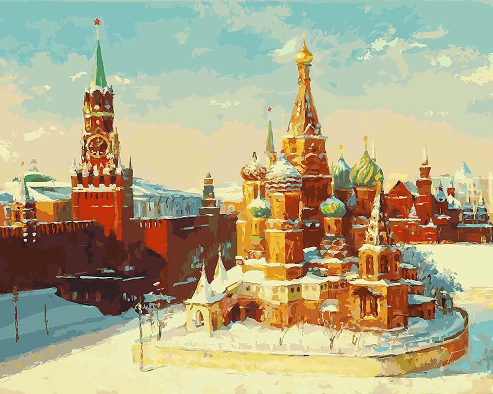 """«Кремль зимой» Михаила БровкинаКартины по номерам Белоснежка<br>Наборы от производителя """"Белоснежка"""" имеют особенности, не позволяющие ошибиться в раскрашивании:<br><br>холст качественно размечен на сектора;<br>чтобы легче было сориентироваться в том, какую краску нужно нанести на определенный участок, каждый сектор имеет н...<br><br>Артикул: 919-AB-C<br>Основа: Цветной холст<br>Сложность: очень сложные<br>Размер: 40x50 см<br>Количество цветов: 40<br>Техника рисования: Без смешивания красок"""