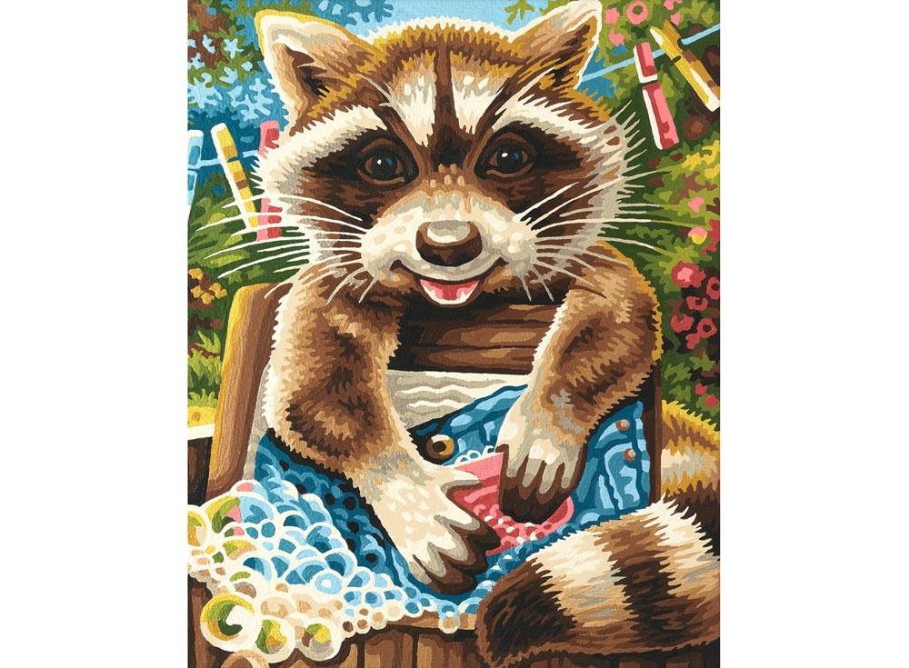 """«Енот»Schipper (Шиппер)<br>Производитель наборов картин по номерам """"Schipper"""" - это исключительное качество всех составляющих. Особенностью этого бренда является то, что основа картины - высококачественный картон, покрытие которого имитирует натуральный холст. Краски """"Schipper"""" обл...<br><br>Артикул: 9240646<br>Основа: Картон<br>Сложность: сложные<br>Размер: 24x30 см<br>Количество цветов: 25<br>Техника рисования: Без смешивания красок"""