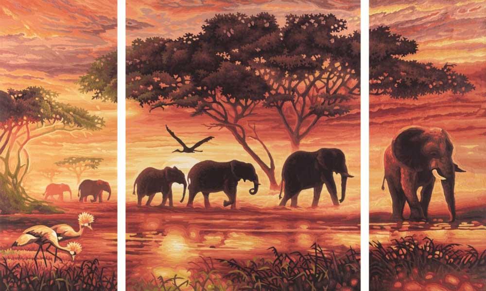 """Картина по номерам «Африканские слоны»Schipper (Шиппер)<br>Производитель наборов картин по номерам """"Schipper"""" - это исключительное качество всех составляющих. Особенностью этого бренда является то, что основа картины - высококачественный картон, покрытие которого имитирует натуральный холст. Краски """"Schipper"""" обл...<br><br>Артикул: 9260455<br>Основа: Картон<br>Сложность: сложные<br>Размер: 2 шт. 20x50 см, 1 шт. 40х50 см<br>Количество цветов: 30<br>Техника рисования: Без смешивания красок"""