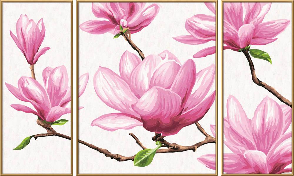 """«Магнолия»Schipper (Шиппер)<br>Производитель наборов картин по номерам """"Schipper"""" - это исключительное качество всех составляющих. Особенностью этого бренда является то, что основа картины - высококачественный картон, покрытие которого имитирует натуральный холст. Краски """"Schipper"""" обл...<br><br>Артикул: 9260527<br>Основа: Картон<br>Сложность: сложные<br>Размер: 2 шт. 20x50 см, 1 шт. 40х50 см<br>Количество цветов: 36<br>Техника рисования: Без смешивания красок"""
