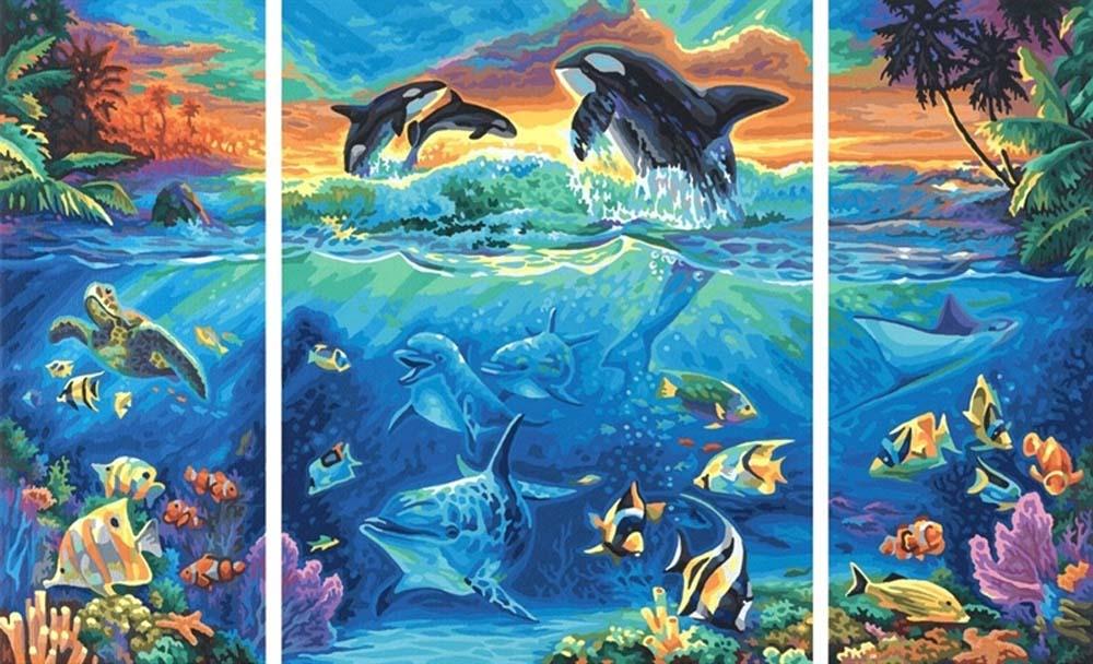 """Картина по номерам «Коралловые рифы»Schipper (Шиппер)<br>Производитель наборов картин по номерам """"Schipper"""" - это исключительное качество всех составляющих. Особенностью этого бренда является то, что основа картины - высококачественный картон, покрытие которого имитирует натуральный холст. Краски """"Schipper"""" обл...<br><br>Артикул: 9260531<br>Основа: Картон<br>Сложность: сложные<br>Размер: 2 шт. 20x50 см, 1 шт. 40x50 см<br>Количество цветов: 42<br>Техника рисования: Без смешивания красок"""