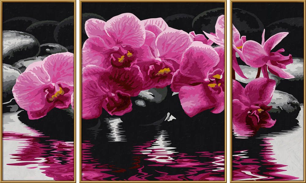 """«Орхидеи»Schipper (Шиппер)<br>Производитель наборов картин по номерам """"Schipper"""" - это исключительное качество всех составляющих. Особенностью этого бренда является то, что основа картины - высококачественный картон, покрытие которого имитирует натуральный холст. Краски """"Schipper"""" обл...<br><br>Артикул: 9260603<br>Основа: Картон<br>Сложность: сложные<br>Размер: 2 шт. 20x50 см, 1 шт. 40х50 см<br>Количество цветов: 24<br>Техника рисования: Без смешивания красок"""
