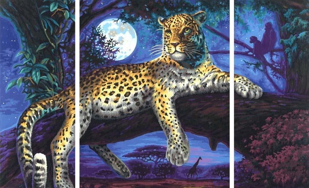 """Картина по номерам «Ягуар в ночи»Schipper (Шиппер)<br>Производитель наборов картин по номерам """"Schipper"""" - это исключительное качество всех составляющих. Особенностью этого бренда является то, что основа картины - высококачественный картон, покрытие которого имитирует натуральный холст. Краски """"Schipper"""" обл...<br><br>Артикул: 9260607<br>Основа: Картон<br>Сложность: сложные<br>Размер: 2 шт. 20x50 см, 1 шт. 40х50 см<br>Количество цветов: 42<br>Техника рисования: Без смешивания красок"""