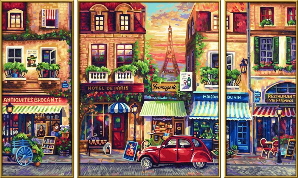 """Картина по номерам «Ностальгия по Парижу»Schipper (Шиппер)<br>Производитель наборов картин по номерам """"Schipper"""" - это исключительное качество всех составляющих. Особенностью этого бренда является то, что основа картины - высококачественный картон, покрытие которого имитирует натуральный холст. Краски """"Schipper"""" обл...<br><br>Артикул: 9260626<br>Основа: Картон<br>Сложность: сложные<br>Размер: 2 шт. 20x50 см, 1 шт. 40х50 см<br>Количество цветов: 38<br>Техника рисования: Без смешивания красок"""