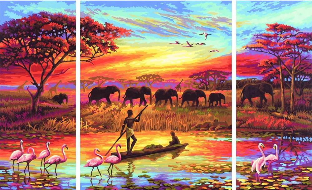 """«Волнующая магия Африки»Schipper (Шиппер)<br>Производитель наборов картин по номерам """"Schipper"""" - это исключительное качество всех составляющих. Особенностью этого бренда является то, что основа картины - высококачественный картон, покрытие которого имитирует натуральный холст. Краски """"Schipper"""" обл...<br><br>Артикул: 9260627<br>Основа: Картон<br>Сложность: сложные<br>Размер: 2 шт. 20x50 см, 1 шт. 40х50 см<br>Количество цветов: 32<br>Техника рисования: Без смешивания красок"""