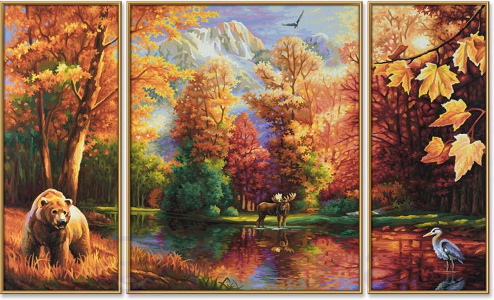 """«Бабье лето»Schipper (Шиппер)<br>Производитель наборов картин по номерам """"Schipper"""" - это исключительное качество всех составляющих. Особенностью этого бренда является то, что основа картины - высококачественный картон, покрытие которого имитирует натуральный холст. Краски """"Schipper"""" обл...<br><br>Артикул: 9260650<br>Основа: Картон<br>Сложность: сложные<br>Размер: 2 шт. 20x50 см, 1 шт. 40х50 см<br>Количество цветов: 40<br>Техника рисования: Без смешивания красок"""