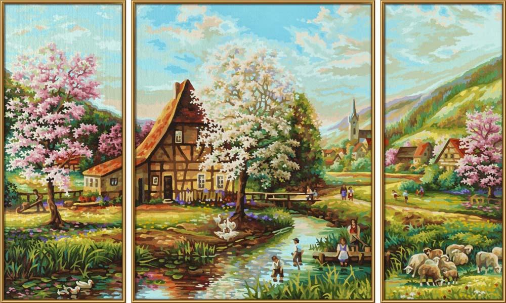 """Картина по номерам «Страна идиллия»Schipper (Шиппер)<br>Производитель наборов картин по номерам """"Schipper"""" - это исключительное качество всех составляющих. Особенностью этого бренда является то, что основа картины - высококачественный картон, покрытие которого имитирует натуральный холст. Краски """"Schipper"""" обл...<br><br>Артикул: 9260664<br>Основа: Картон<br>Сложность: сложные<br>Размер: 2 шт. 20x50 см, 1 шт. 40x50 см<br>Количество цветов: 25<br>Техника рисования: Без смешивания красок"""