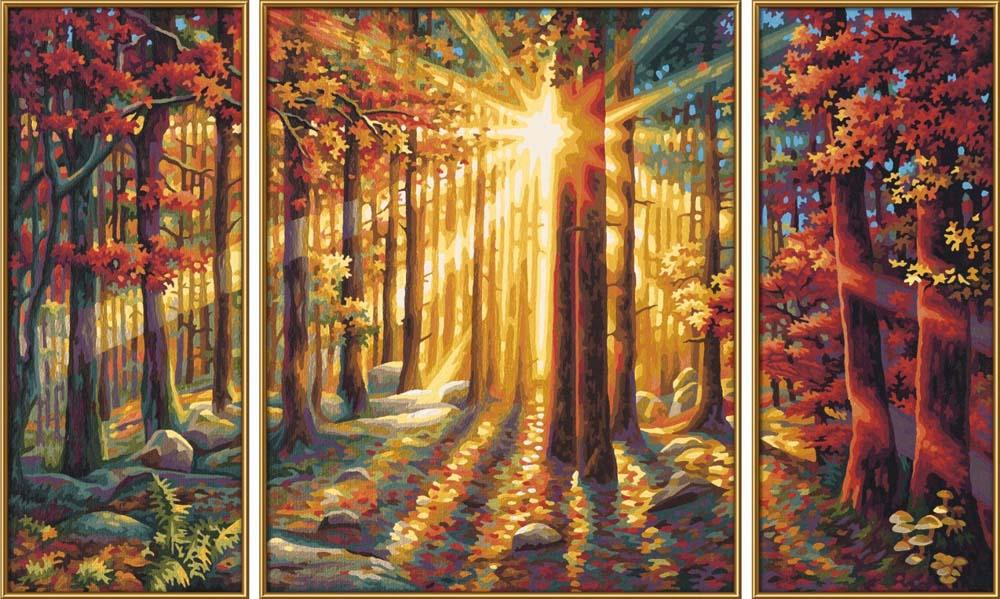 """Картина по номерам «Осенний лес»Schipper (Шиппер)<br>Производитель наборов картин по номерам """"Schipper"""" - это исключительное качество всех составляющих. Особенностью этого бренда является то, что основа картины - высококачественный картон, покрытие которого имитирует натуральный холст. Краски """"Schipper"""" обл...<br><br>Артикул: 9260688<br>Основа: Картон<br>Сложность: сложные<br>Размер: 2 шт. 20x50 см, 1 шт. 40х50 см<br>Количество цветов: 25<br>Техника рисования: Без смешивания красок"""