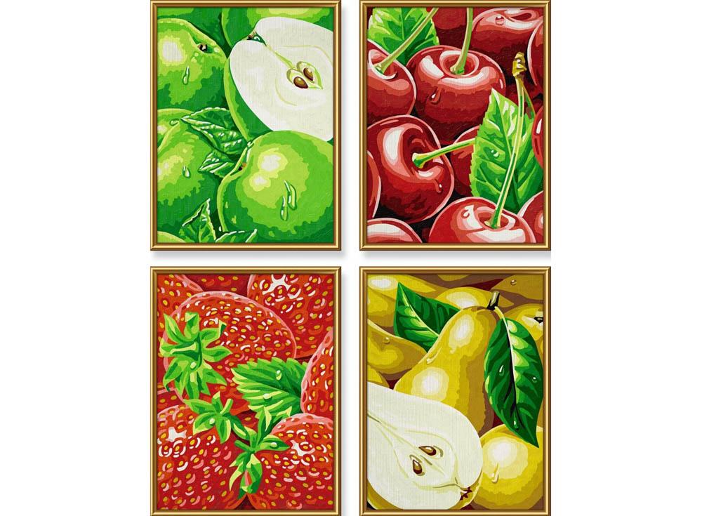 """Картина по номерам «Фрукты»Schipper (Шиппер)<br>Производитель наборов картин по номерам """"Schipper"""" - это исключительное качество всех составляющих. Особенностью этого бренда является то, что основа картины - высококачественный картон, покрытие которого имитирует натуральный холст. Краски """"Schipper"""" обл...<br><br>Артикул: 9340535<br>Основа: Картон<br>Сложность: сложные<br>Размер: 4 шт. 18x24 см<br>Количество цветов: 24<br>Техника рисования: Без смешивания красок"""