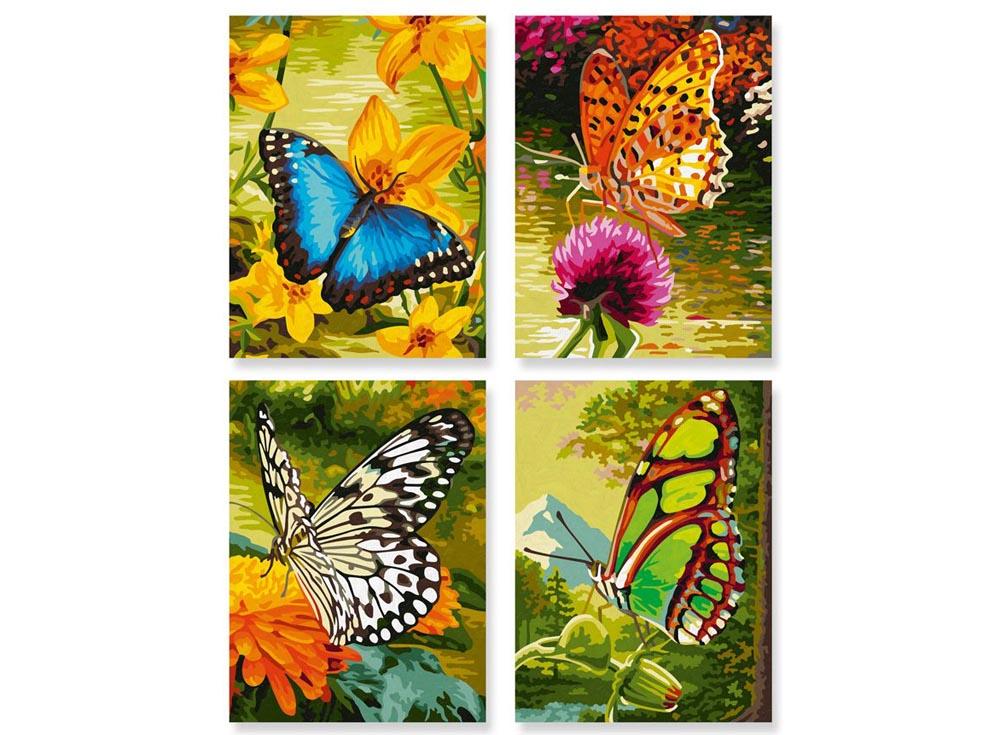 """Картина по номерам «Бабочки»Schipper (Шиппер)<br>Производитель наборов картин по номерам """"Schipper"""" - это исключительное качество всех составляющих. Особенностью этого бренда является то, что основа картины - высококачественный картон, покрытие которого имитирует натуральный холст. Краски """"Schipper"""" обл...<br><br>Артикул: 9340628<br>Основа: Картон<br>Сложность: сложные<br>Размер: 4 шт. 18x24 см<br>Количество цветов: 36<br>Техника рисования: Без смешивания красок"""
