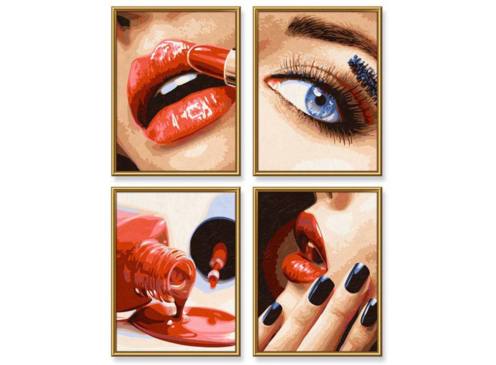 """«Make-up»Schipper (Шиппер)<br>Производитель наборов картин по номерам """"Schipper"""" - это исключительное качество всех составляющих. Особенностью этого бренда является то, что основа картины - высококачественный картон, покрытие которого имитирует натуральный холст. Краски """"Schipper"""" обл...<br><br>Артикул: 9340699<br>Основа: Картон<br>Сложность: сложные<br>Размер: 4 шт. 18x24 см<br>Количество цветов: 25<br>Техника рисования: Без смешивания красок"""