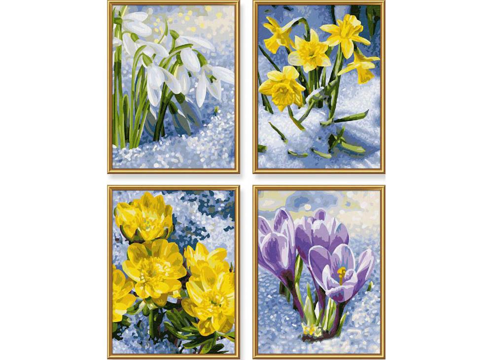 """«Весенние цветы»Schipper (Шиппер)<br>Производитель наборов картин по номерам """"Schipper"""" - это исключительное качество всех составляющих. Особенностью этого бренда является то, что основа картины - высококачественный картон, покрытие которого имитирует натуральный холст. Краски """"Schipper"""" обл...<br><br>Артикул: 9340713<br>Основа: Картон<br>Сложность: сложные<br>Размер: 4 шт. 18x24 см<br>Количество цветов: 25<br>Техника рисования: Без смешивания красок"""