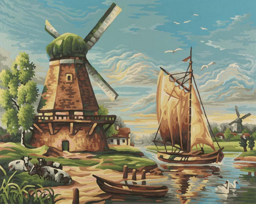 """«У мельницы»Schipper (Шиппер)<br>Производитель наборов картин по номерам """"Schipper"""" - это исключительное качество всех составляющих. Особенностью этого бренда является то, что основа картины - высококачественный картон, покрытие которого имитирует натуральный холст. Краски """"Schipper"""" обл...<br><br>Артикул: 9350545<br>Основа: Картон<br>Сложность: сложные<br>Размер: 40x50 см<br>Количество цветов: 24<br>Техника рисования: Без смешивания красок"""