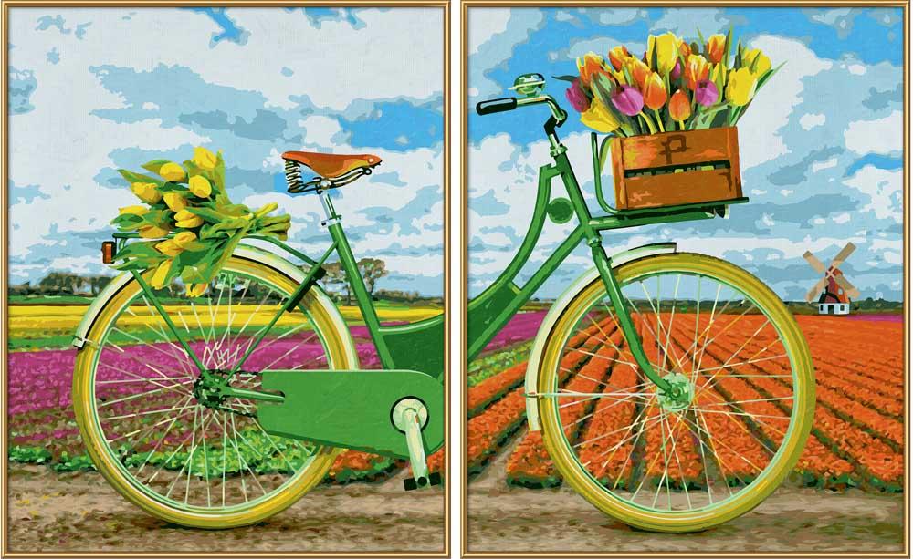 """«Голландский велосипед»Schipper (Шиппер)<br>Производитель наборов картин по номерам """"Schipper"""" - это исключительное качество всех составляющих. Особенностью этого бренда является то, что основа картины - высококачественный картон, покрытие которого имитирует натуральный холст. Краски """"Schipper"""" обл...<br><br>Артикул: 9420692<br>Основа: Картон<br>Сложность: сложные<br>Размер: 2 шт. 40x50 см<br>Количество цветов: 25<br>Техника рисования: Без смешивания красок"""